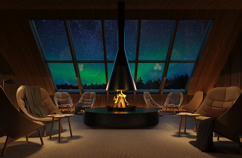 Rokua Suites Aurora lounge mallinnus